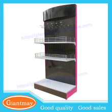 black and rose red pegboard floor shelf hanging exhibition display stand