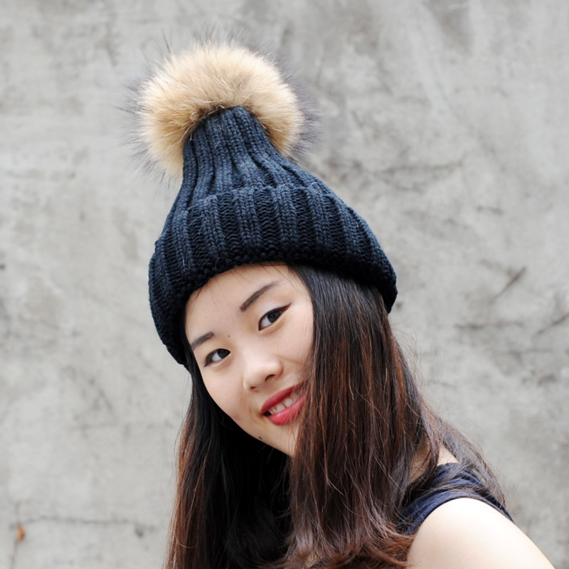 CX-C-237A Classic style wholesale unisex wool knit beanie hat with raccoon fur pom poms