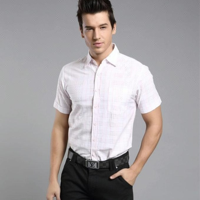 A4054 New Men Pink Casual Shirts Long Sleeve Thin Fashion Brand 100% Cotton Slim Fit Business Casual Classic Men Plaid Shirt
