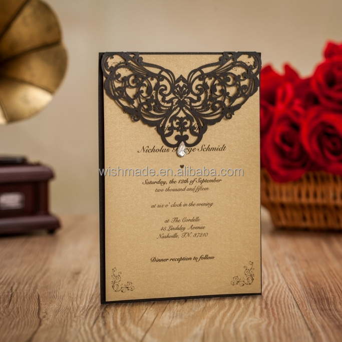 2017 new arrival wishmade wedding invitation card LA825 <strong>decorating</strong>