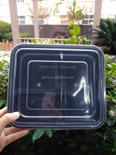 Black 3 compartment biodegradable snack bento lunch box container