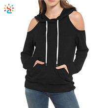 Trendy cut off black hoodie off the shoulder womens sweatshirts cold shoulder private label blank sweatshirts