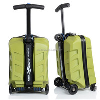 Suitcase scooter cabin approved travel trolley luggage wheeled flight,ABS+PC Scooter Luggage