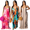 9040109 2019 Summer women fashion printed loose suspender maxi casual dress