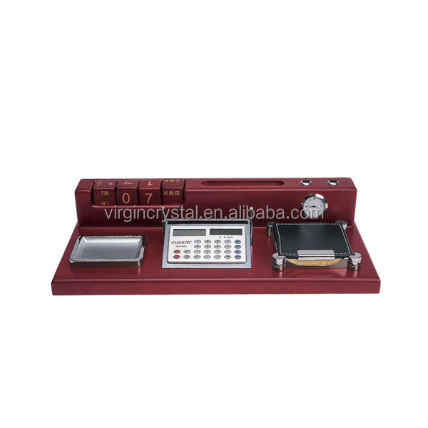 Wooden office set with calculator and wooden calendar for high end business partners