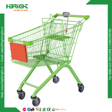 100 liter metal supermarket shopping cart with coin lock