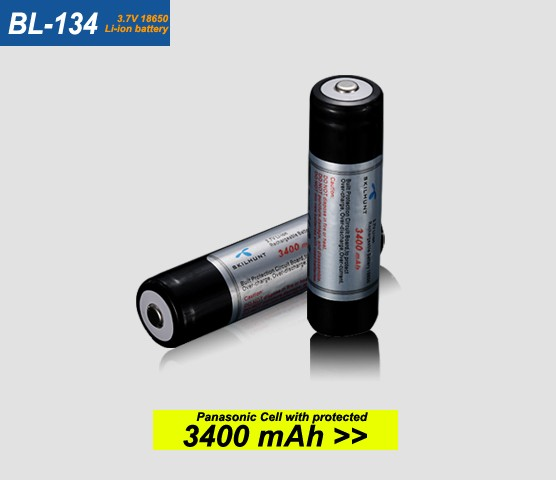 BL-134 3.7V NCR18650B 3400mAh protected 18650 lithium battery