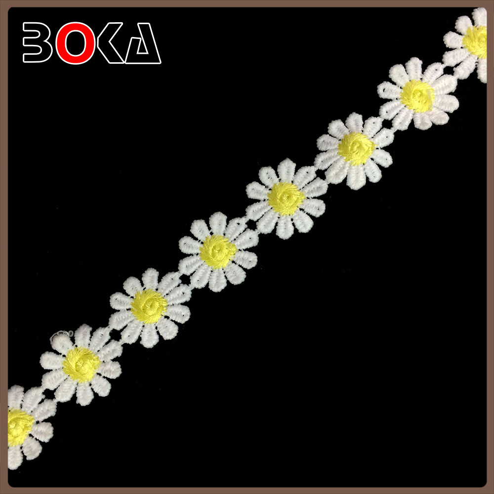 new design Small yellow color daisy flower cotton crochet lace trim for curtain border BK-TRM2385