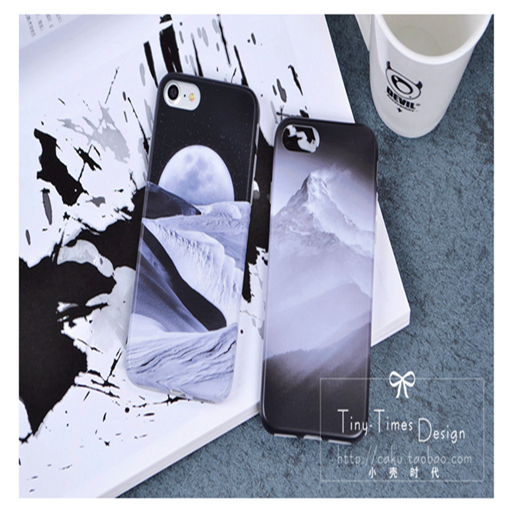 Customed frosted 3D dessert of Moon mountain TPU soft black cell phone case cover for Iphone 5,5SE,6,6+,7,7+