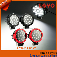 auto parts 51w off road led work light for trucks 12V IP67 Spot/Flood Black Red led work light