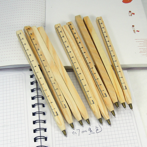wood pen with ruler wooden ball pen