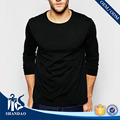 Shandao Designer Fashion New Listing OEM Casual Men Long Sleeve O-neck Black 180g 100%Cotton Wholesale Slim Fit T Shirt For Men