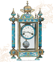 Antique Cloisonne Enamel Art Clock, Luxury Machanical Table Clock
