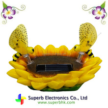 Solar Powered Sunflower with 2 Bumble Bee Light LED for Home Decor