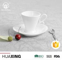 Reusable white porcelain 200ml bulk tea saucer sets ceramic cup coffee with cheap price