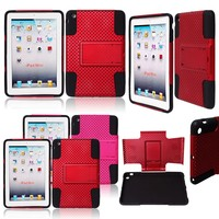 2 in 1 Hybrid PC+silicon Mesh Design Shockproof Stand Tablet Case for iPad mini 2 3 4, Back Cover for iPad Mini Case