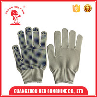 Single side PVC dotted nylon work hand gloves