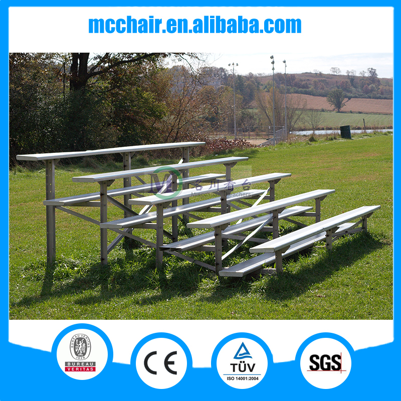 MC-6F Best football field fixed angle steel structure bleacher with plastic seats