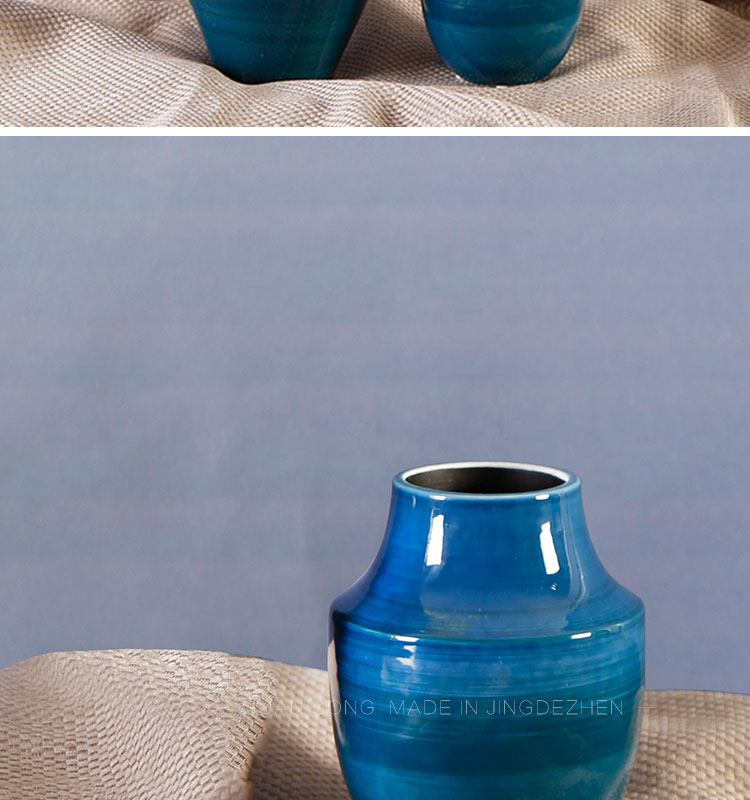 Jingdezhen fancy small blue hand painted christmas design vase CY.S.0217