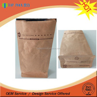 Kraft paper stand up pouch with valve/square bottom stand up bag with zipper