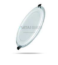 High quality 12W Round Glass Aluminum Body Led Panel Light China factory