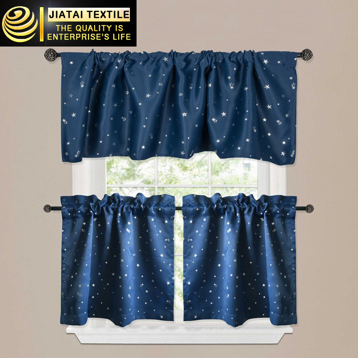 100% polyester wholesale fancy luxury christmas kitchen curtains patterns