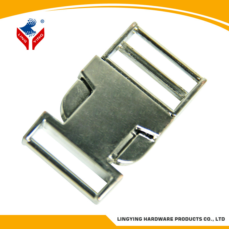 Shiny nickel adjustable buckle for webbing in top quality