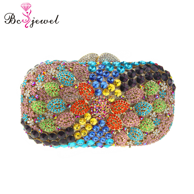 WZB-014 Wholesale Women Purses Cheap Handmade Colorful Metal Clutch Bag 2017,Evening Clutch Bag Crystal