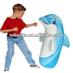Inflatable fun bop bag and punching bag dolphin