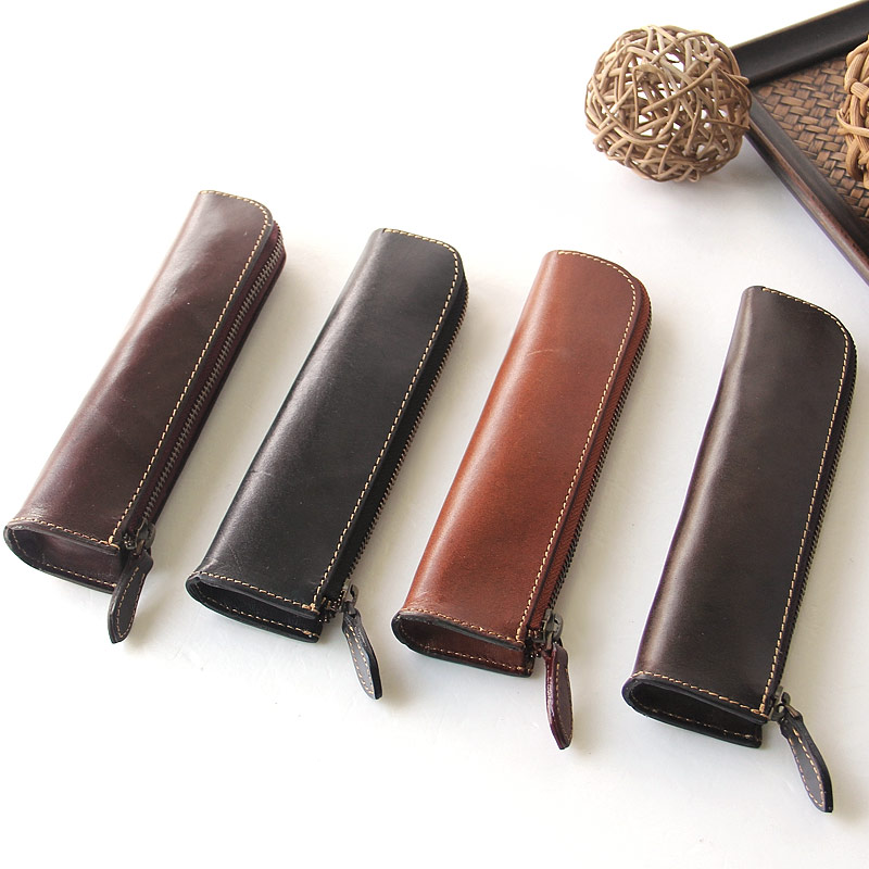 high quality leather round cover zipper pencil case for school students office pencil bag
