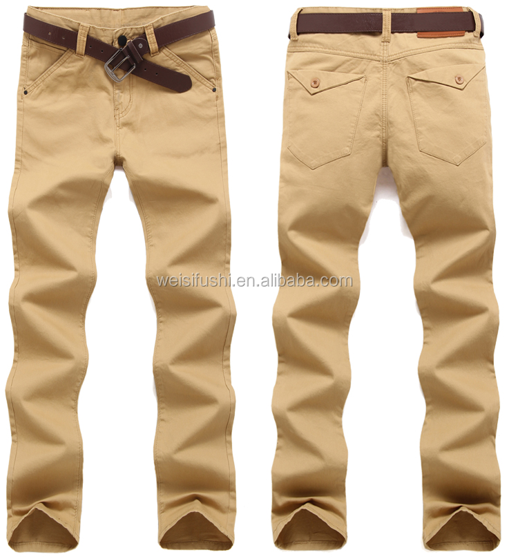 wholesale cheap khaki/green/wine/black/navy man trousers/customize 100% cotton mens long chino pants