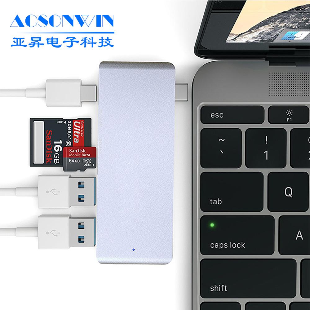 wireless multi-in-1 type c usb 3.0 hub with card reader