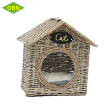 High quality handmade indoor grey natural wicker cat cage
