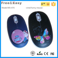 Water printing small flat mini size wired kids computer mouse