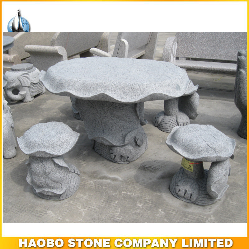 Outdoor Granite Garden Stone Table and Seat Carving