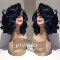 Wavy synthetic hair lace front wig