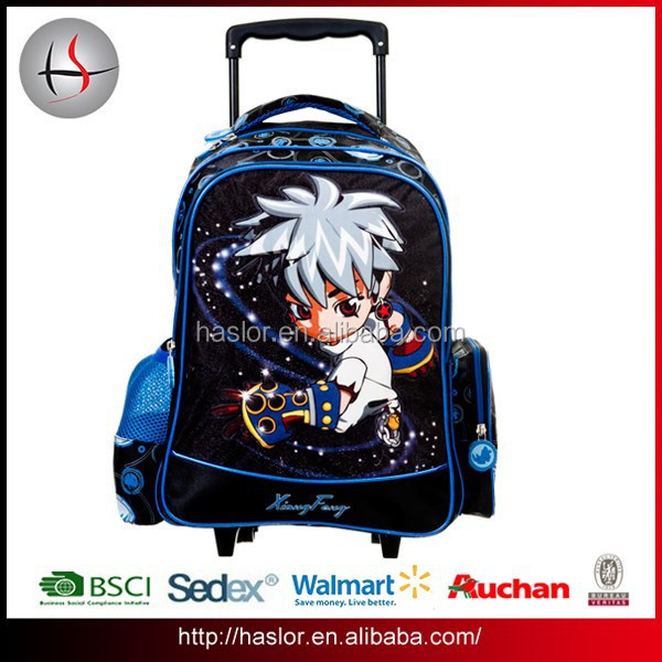 2015 New style wholesale children school trolley bags for boys