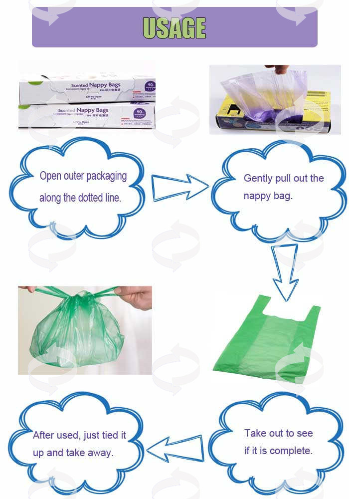 EPI Diaper Bag Easy-Tie Baby Disposable Diaper Sacks/Nappy Bags