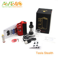 Authenic Tesla Stealth 100w tc box mod fit electronic cigarette 2200mah 18650 battery and 100w Teslacigs Stealth Starter kit