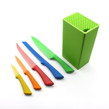 6 PCS Colorful Non-Stick Coated Stainless Steel Kitchen Knife Set with green Knife holder