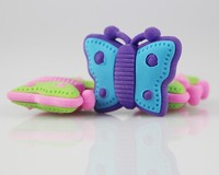 Cute 3D Free Rubbered Butterfly Shaped Rubber Animal Erasers