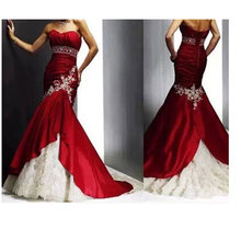 Western Factory Price Strapless Cheap Gorgeous Mermaid Red And White Wedding Dresses