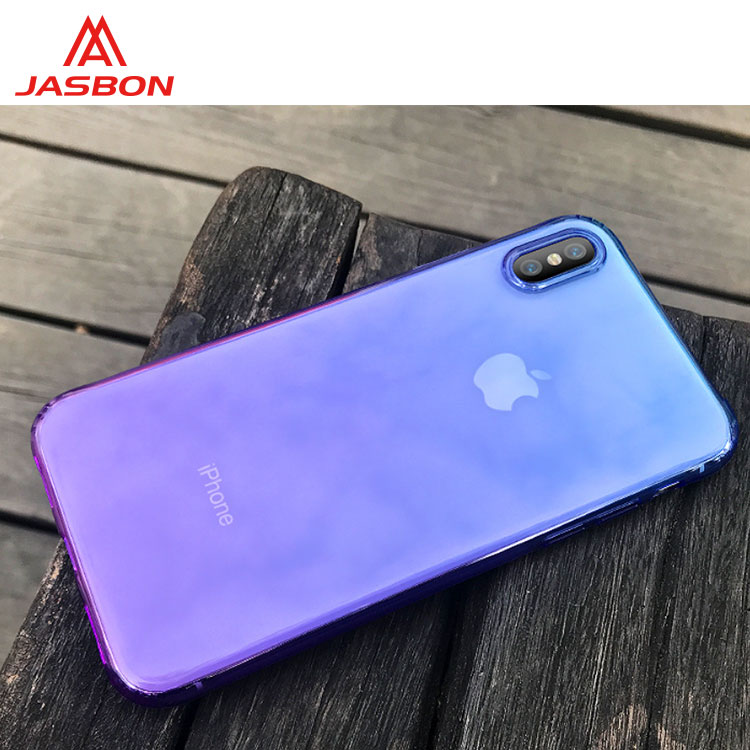 JASBON 2018 gradient color TPU mobile phone case for iphone X case for cell phone