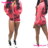 Wholesale Coconut Printing Sports Wear Sexy Women Polo Sweat Suit