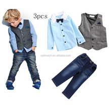 2-7 Years Boys Clothing Set Toddler Kids Cotton Shirt+Pant+Vest Outfits Wholesale Children's Clothing