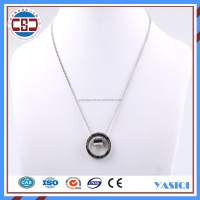 High quality 18K white gold plated simple chain jewelry engraved custom brand name pendant charm necklace