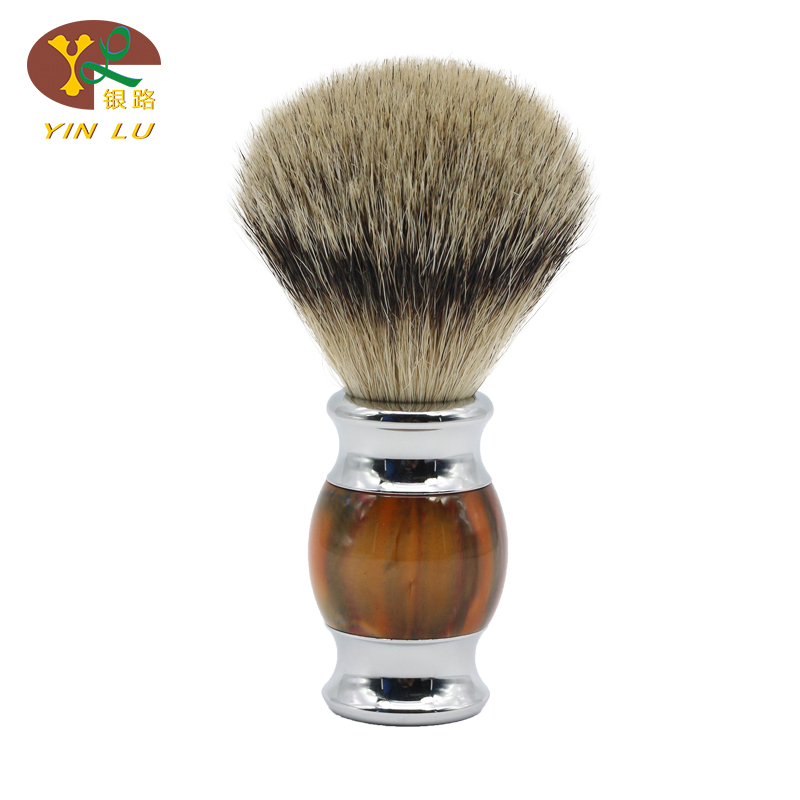 Safety Razor 100% Silvertip Badger Bristle Colorful Orange Tiger Skin Handle Shaving Brush
