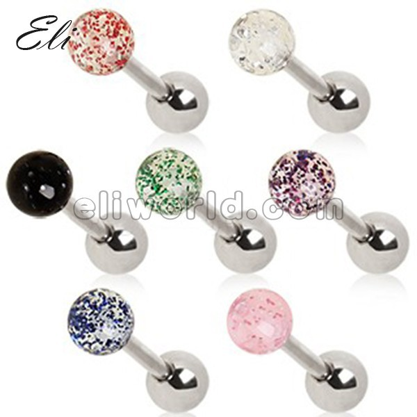 Epoxy Covered Ferido Cartilage Tragus Ear Helix Earring Barbell