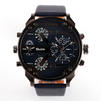 hot new products for 2016 wholesale oum brand pu leather band big face 2 time zone quartz watch cheap price