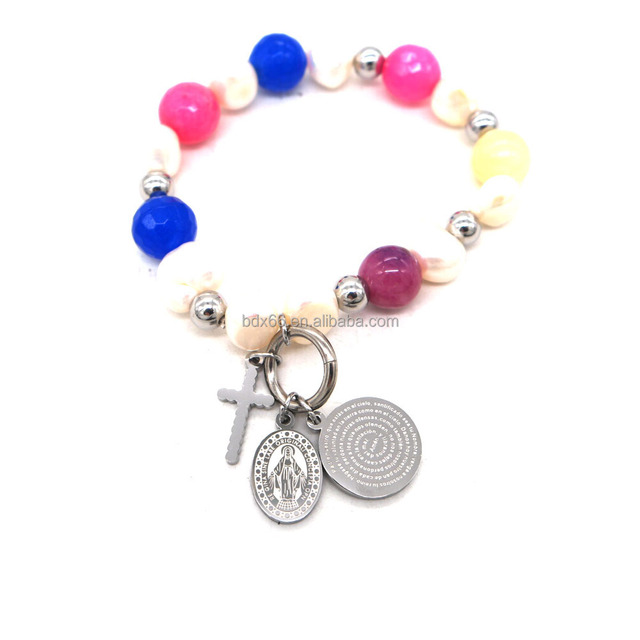 Latest Easter Memorial Jewelry Stainless Steel Religious Jesus Cross Spanish Lords Prayer Charm Colorful Rosary Beads Bracelet